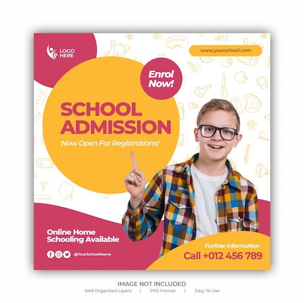 Banner de mídia social de admissão de educação escolar crianças e modelo de folheto quadrado