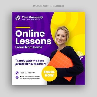 Banner de mídia social de aulas on-line e modelo de folheto quadrado