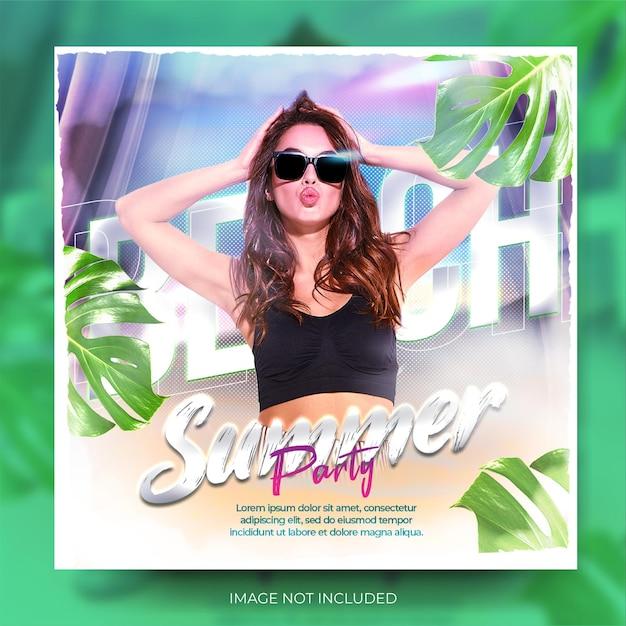 Banner de mídia social de clube de verão musical