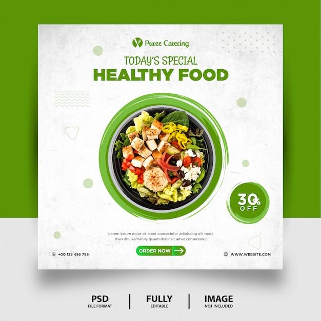 Banner de mídia social de comida saudável de cor verde