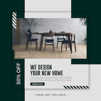 Banner de mídia social de design de interiores psd