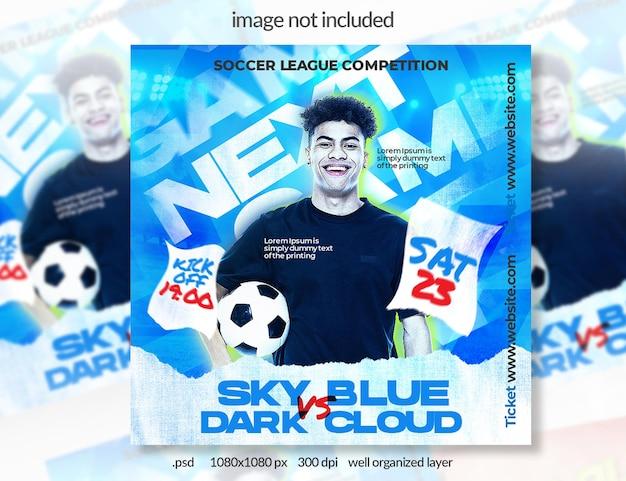Banner de mídia social de esporte de futebol azul