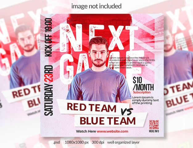 Banner de mídia social de esporte de futebol vermelho