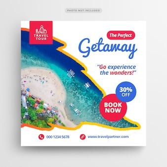 Banner de mídia social de férias de férias de viagem ou modelo de folheto quadrado