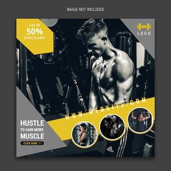 Banner de mídia social de fitness para facebook e instagram
