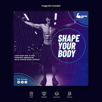 Banner de mídia social de ginásio fitness esporte post do instagram ou modelo de folheto quadrado