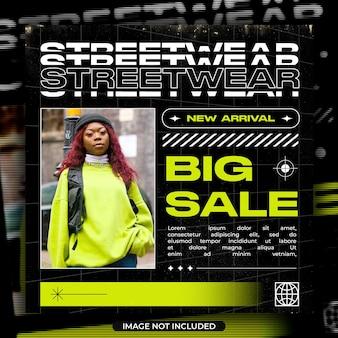 Banner de mídia social de grande venda de moda streetwear e instagram po