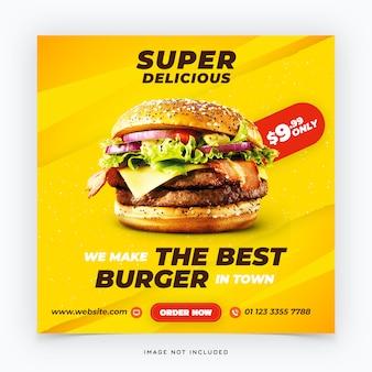 Banner de mídia social de hambúrguer de fast-food