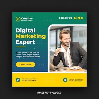 Banner de mídia social de marketing de negócios criativos digitais ou modelo de flyer quadrado