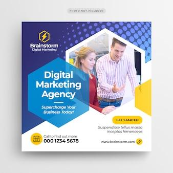 Banner de mídia social de marketing de negócios digitais ou panfleto quadrado