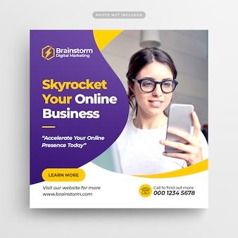 Banner de mídia social de marketing de negócios digitais