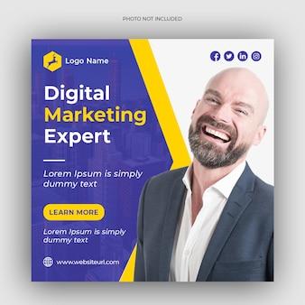 Banner de mídia social de marketing digital de negócios ou modelo de folheto quadrado