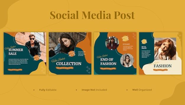 Banner de mídia social de moda e modelo de postagem no instagram