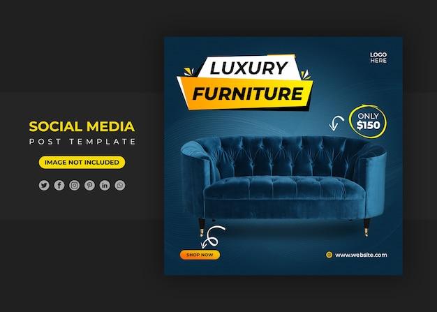 Banner de mídia social de móveis de luxo e modelo de postagem no instagram