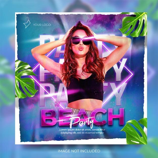 Banner de mídia social de música de clube de verão dinâmico