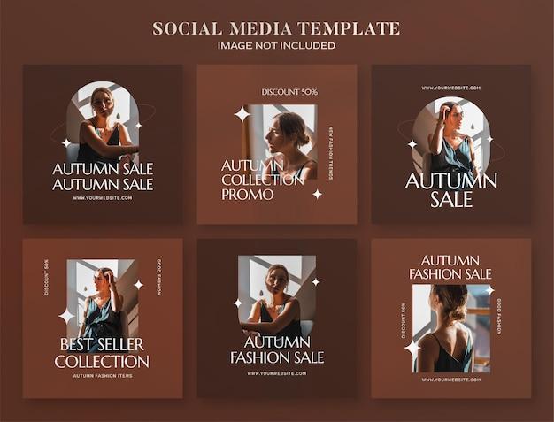 Banner de mídia social de outono e modelo de postagem no instagram