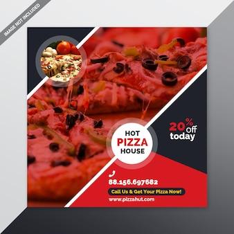 Banner de mídia social de pizza