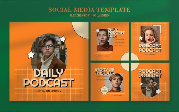 Banner de mídia social de podcast retro e modelo de postagem de instagram
