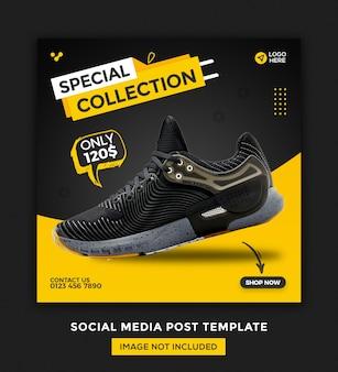 Banner de mídia social de sapatos e design de modelo de postagem do instagram