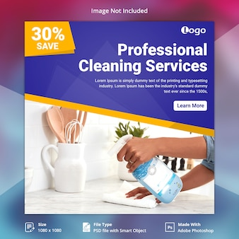 Banner de mídia social de serviços de limpeza