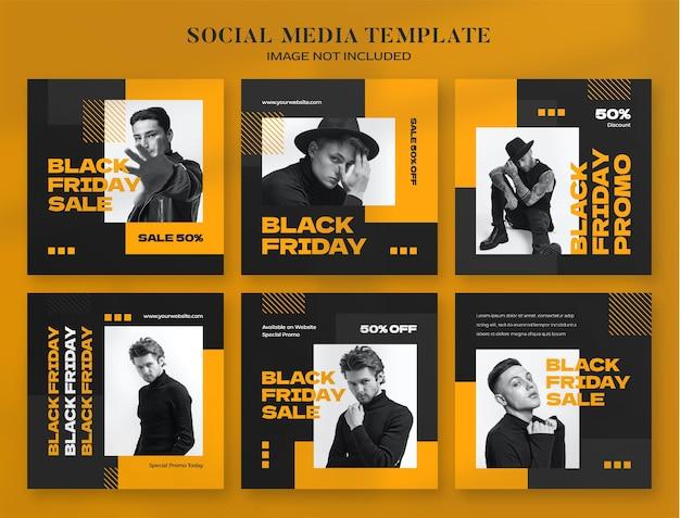 Banner de mídia social de sexta-feira negra e modelo de postagem no instagram