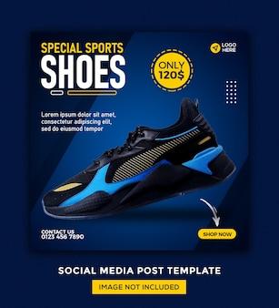 Banner de mídia social de tênis e design de modelo de postagem no instagram