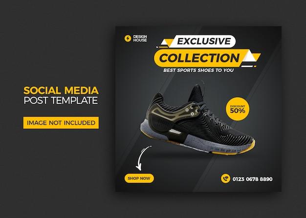 Banner de mídia social de tênis esportivos dinâmicos e design de modelo de postagem do instagram