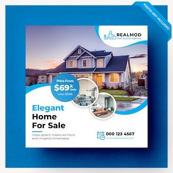 Banner de mídia social de venda de imóveis ou modelo de flyer quadrado