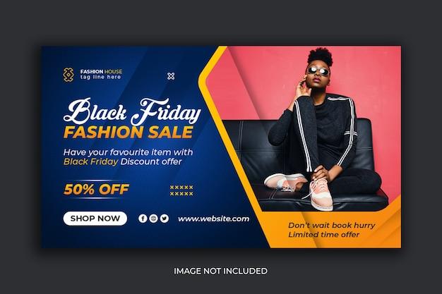 Banner de mídia social de venda de moda na sexta-feira negra modelo de postagem do instagram