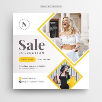 Banner de mídia social de venda de moda ou modelo de folheto quadrado
