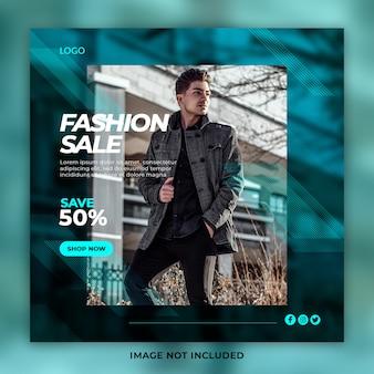 Banner de mídia social de venda de moda