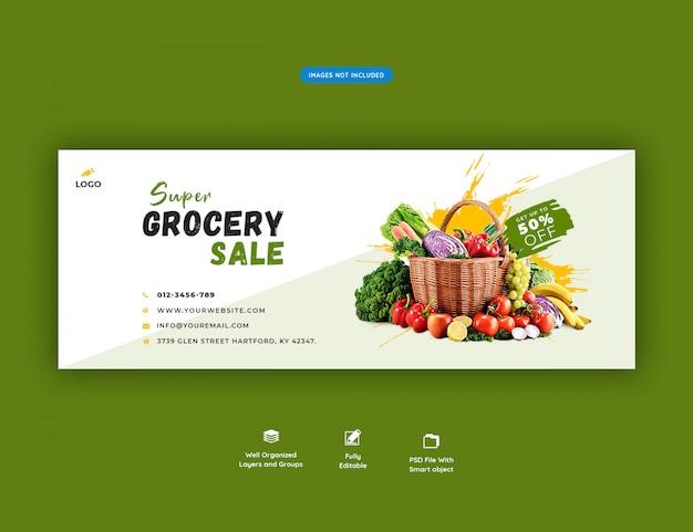 Banner de mídia social de venda de supermercado super
