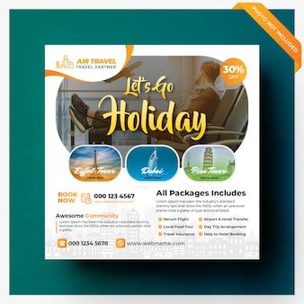 Banner de mídia social de viagens de férias ou modelo de panfleto quadrado