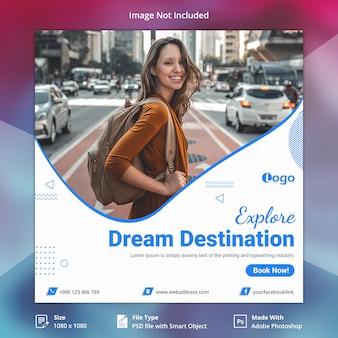 Banner de mídia social de viagens