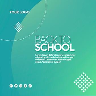 Banner de mídia social de volta à escola com elementos