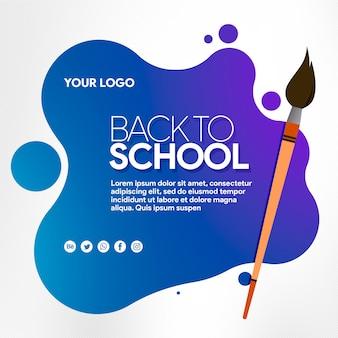 Banner de mídia social de volta à escola com escova
