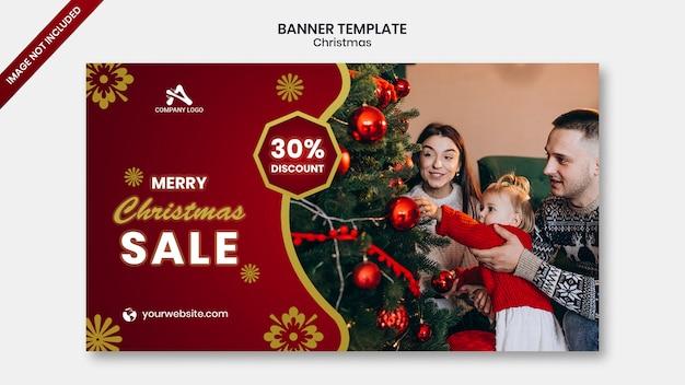 Banner de mídia social de web de venda de natal