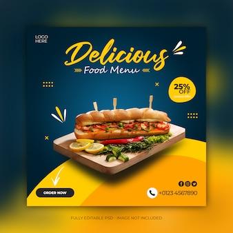 Banner de mídia social delicioso sanduíche