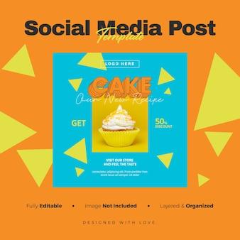 Banner de mídia social do cake e modelo de postagem no instagram