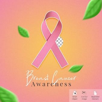 Banner de mídia social do mês de conscientização do câncer de mama com fita dobrada em 3d