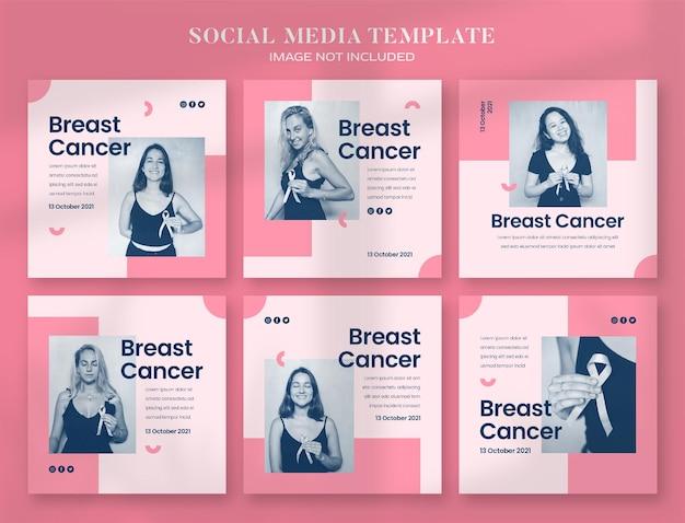 Banner de mídia social do mês de conscientização sobre o câncer de mama e modelo de postagem no instagram