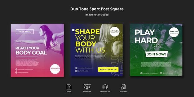 Banner de mídia social duotone sport fitness post no instagram ou modelo de folheto quadrado
