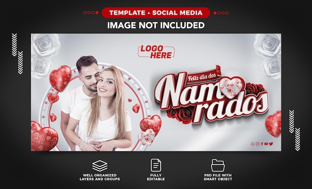Banner de mídia social facebook feliz dia dos namorados apaixonado no brasil