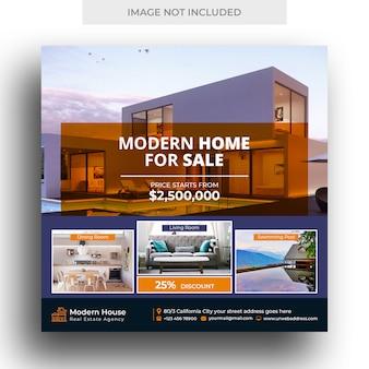 Banner de mídia social imobiliária e modelo de panfleto quadrado