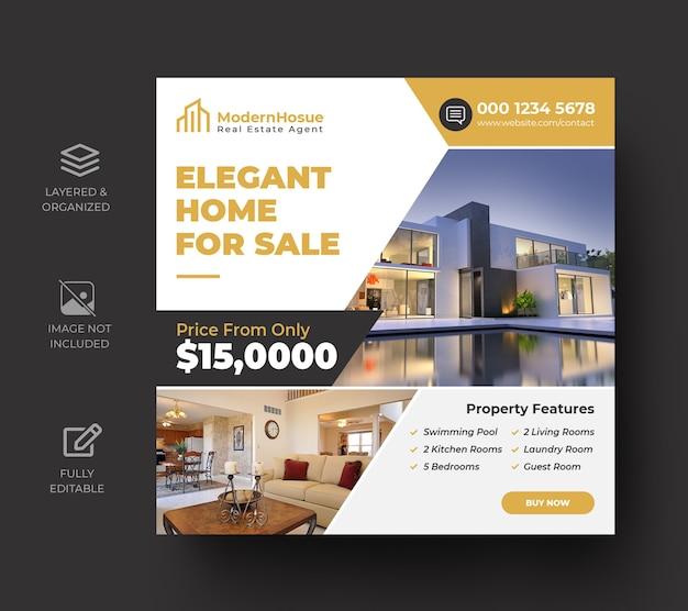 Banner de mídia social imobiliária ou modelo de flyer quadrado