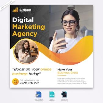 Banner de mídia social marketing digital ou panfleto quadrado