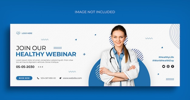 Banner de mídia social médica e de saúde e modelo de design de foto de capa do facebook