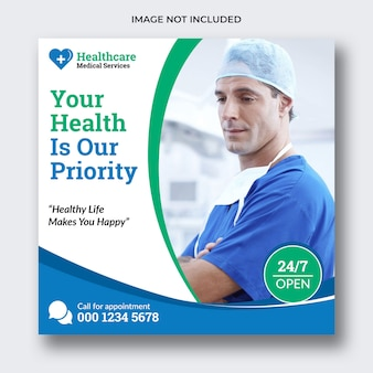 Banner de mídia social médica ou folheto quadrado