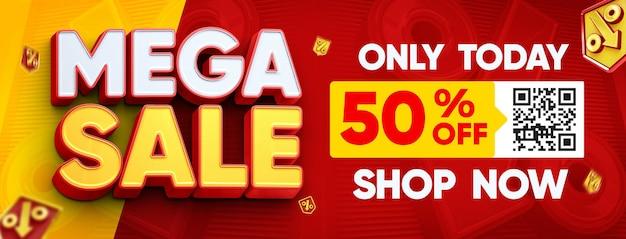 Banner de mídia social mega modelo de venda com até 50 de desconto