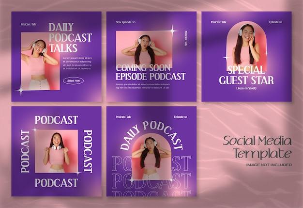 Banner de mídia social moderno de podcast e modelo de postagem no instagram
